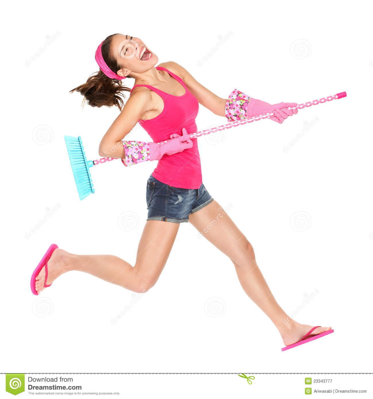 Cleaning Woman Happy Jumping Royalty Free Stock ... | 1300 x 1390 jpeg 87kB