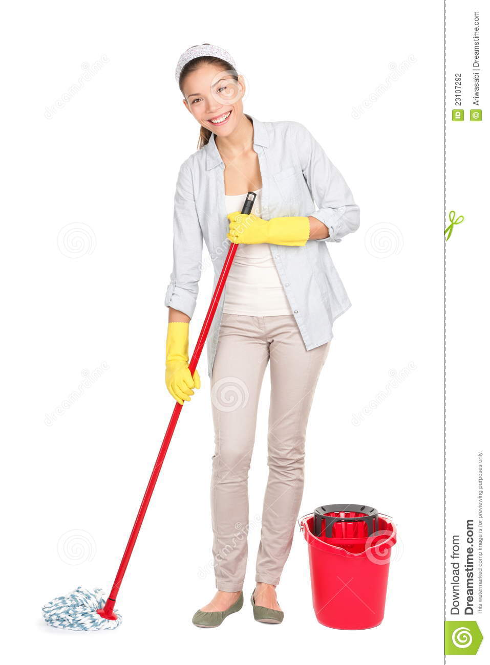 Cleaning Woman Washing Floor Mop Stock Photography Image