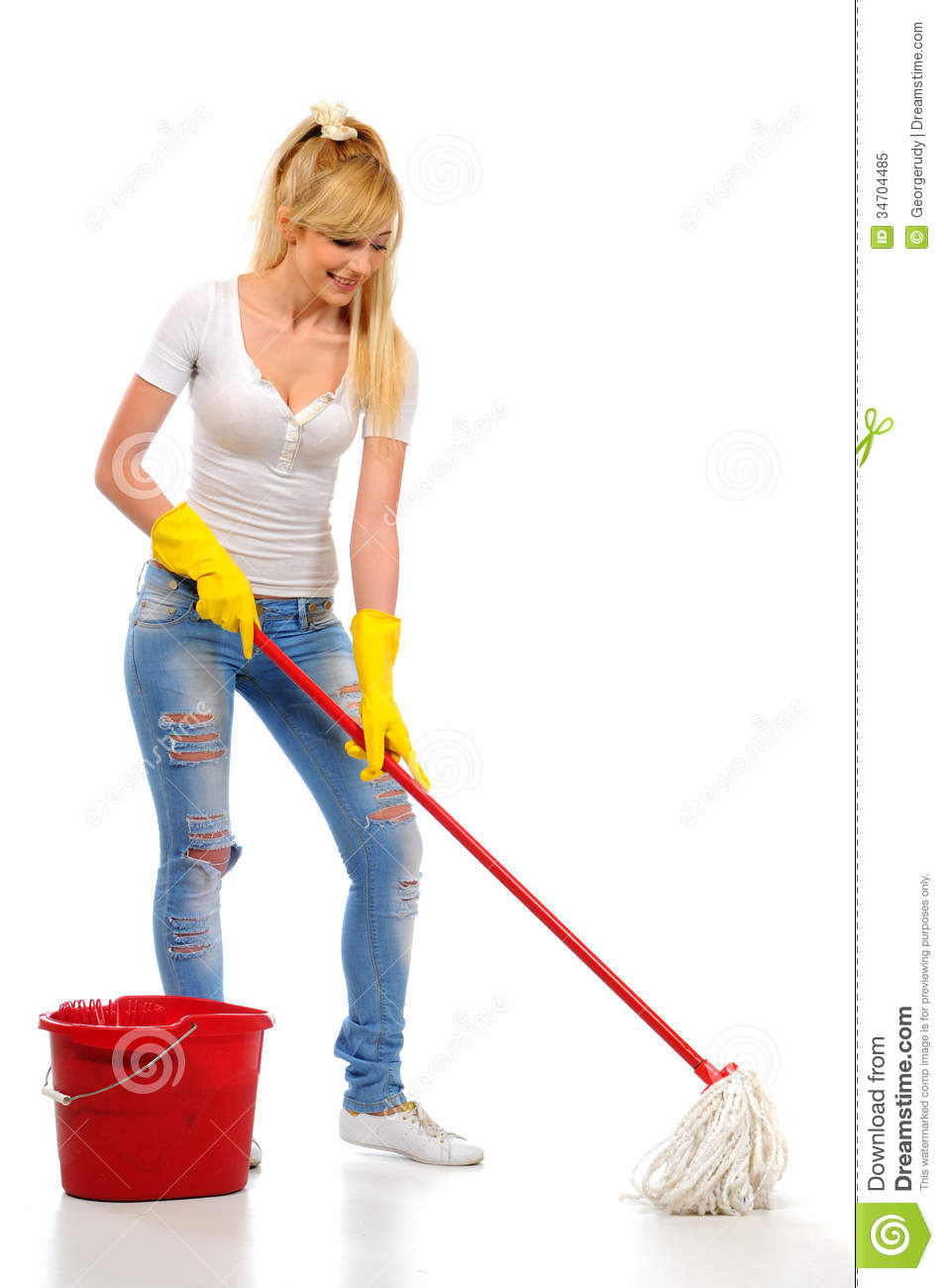 Cleaning woman washing floor with mop and bucket during spring ...