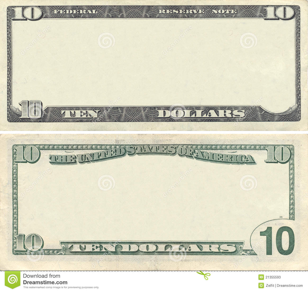 Clear 10 Dollar Banknote Pattern Stock Photos - Image: 21355593