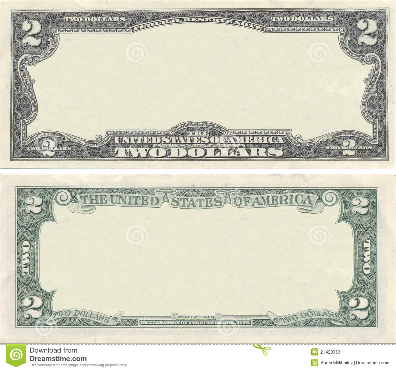 Blank 20 Dollar Bill Template Clear 2 dollar banknote Blank Dollar ...