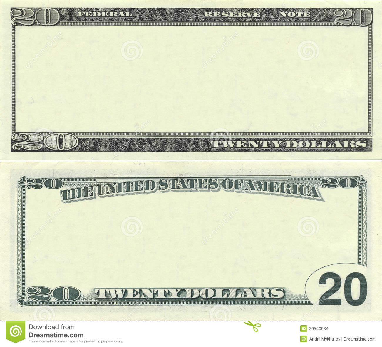 Clear 20 Dollar Banknote Pattern Stock Images - Image: 20540934
