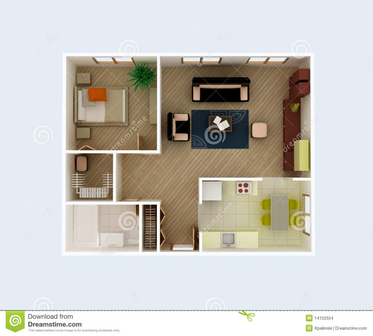 Apartment Floor Plan Stock Illustration Illustration Of