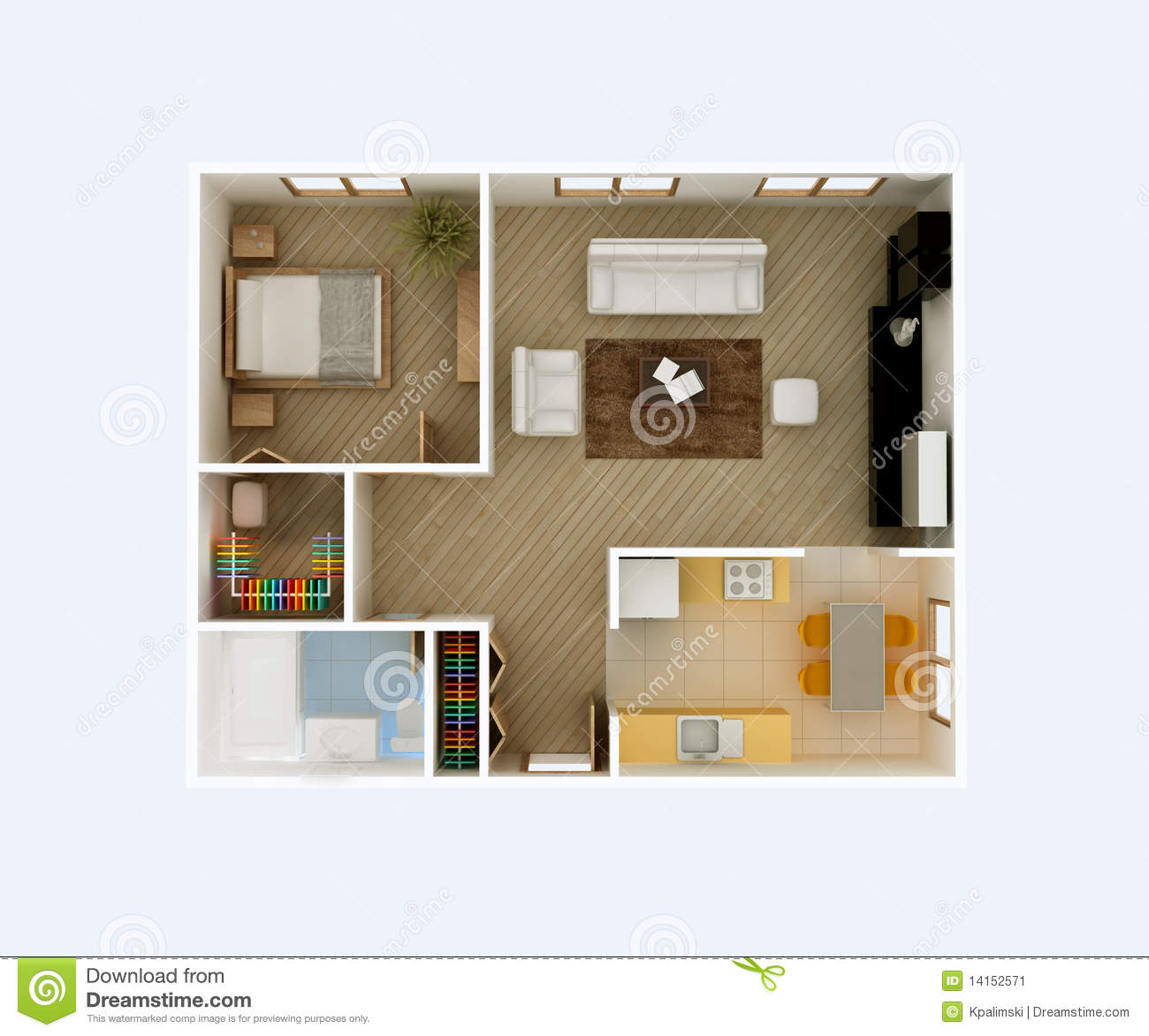 Apartment floor plan top view stock illustration image for Architecte 3d plan maison architecture