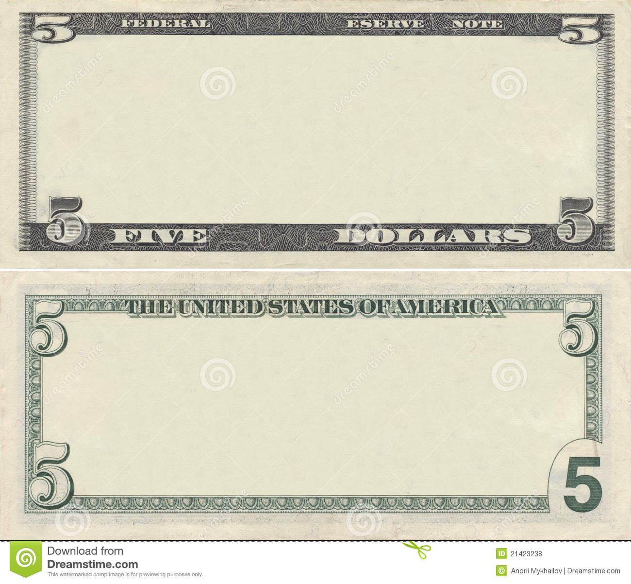 Blank 1 Dollar Bill Template Clear 5 dollar banknote