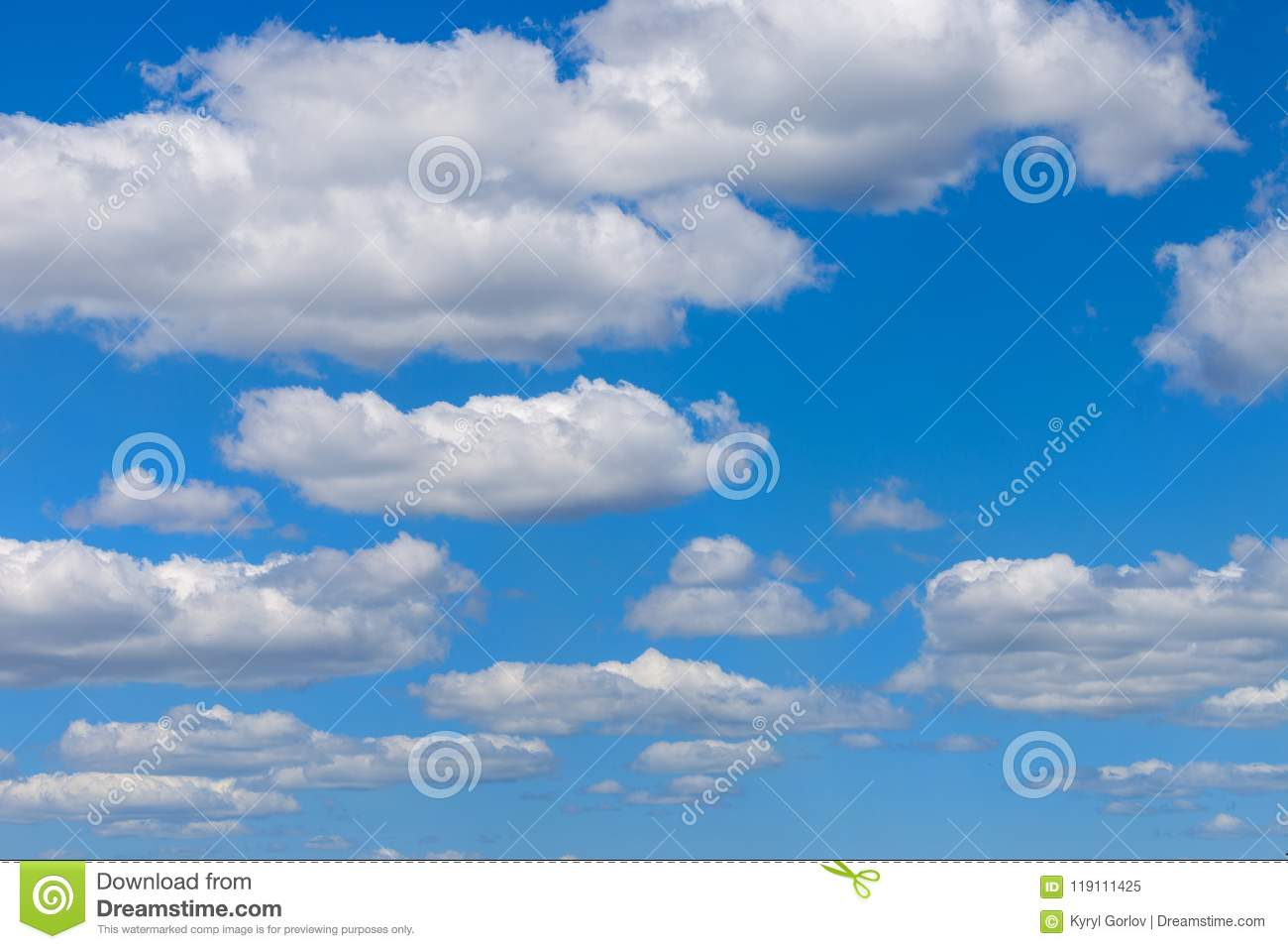 Clear blue sky background with clouds. Vibrant nature scene
