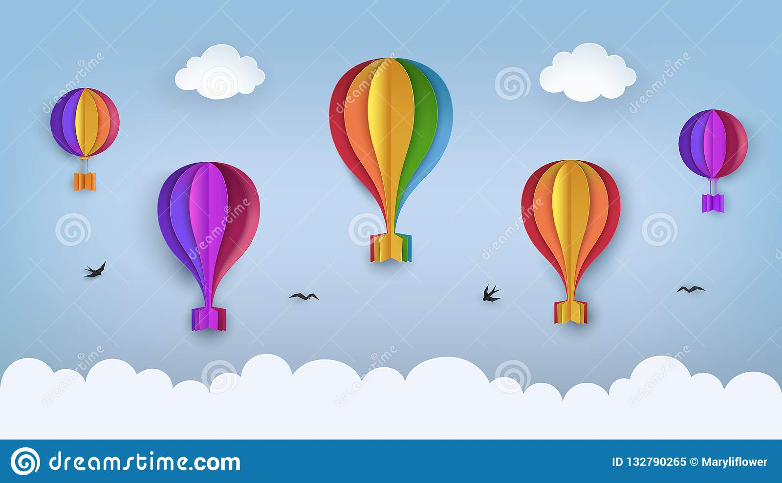 Clear Blue Sky With Clouds Flying Birds Rainbow Colored