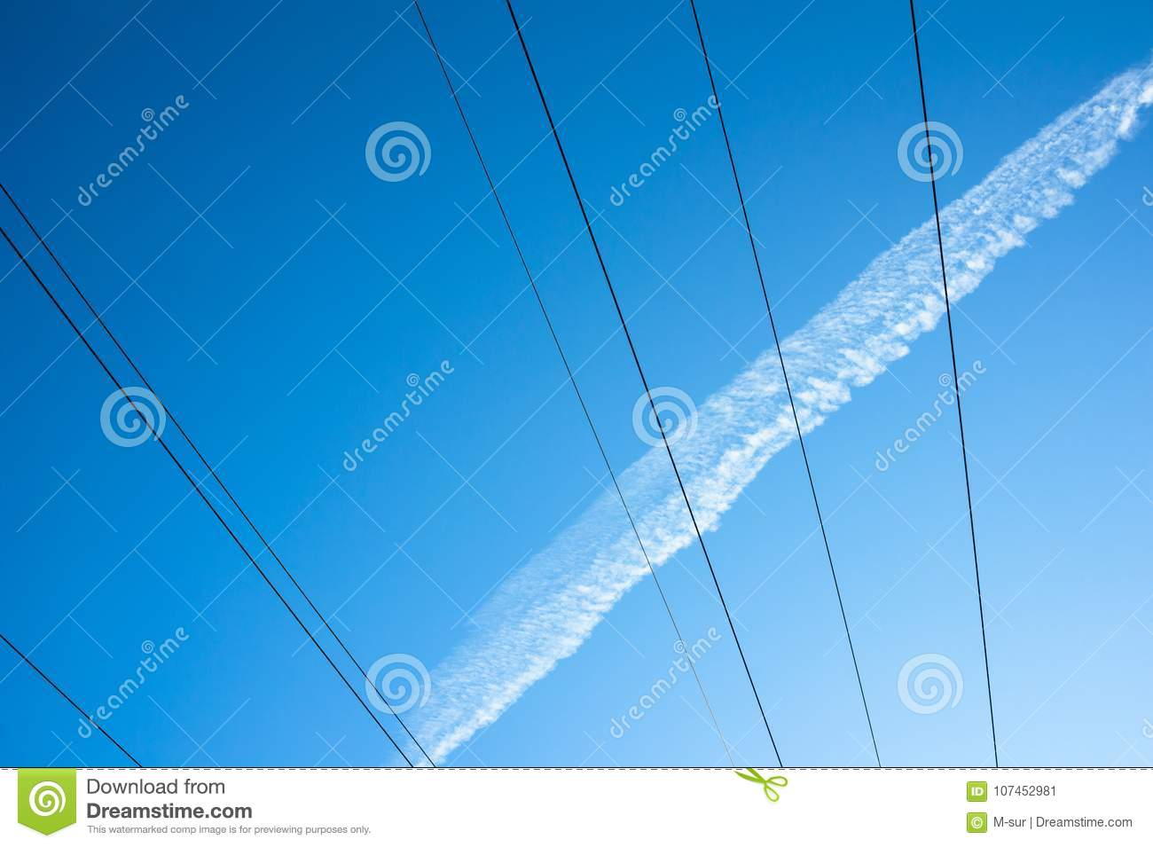 Clear Blue Sky And Wires And Tracks Stock Image - Image of transport ...