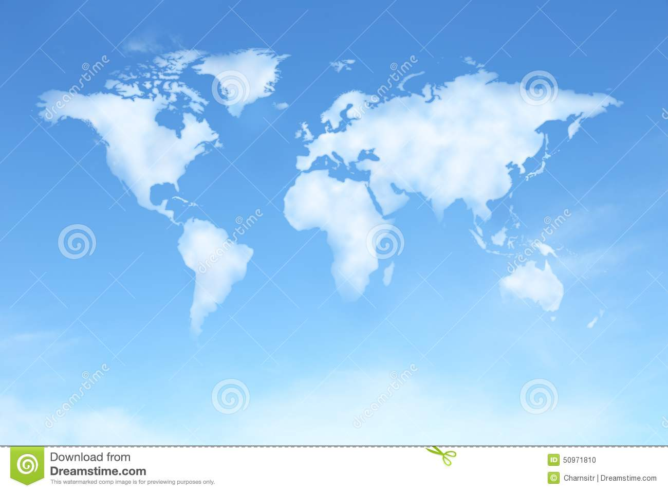 Clear blue sky with world map in cloud shape stock illustration clear blue sky with world map in cloud shape gumiabroncs Choice Image