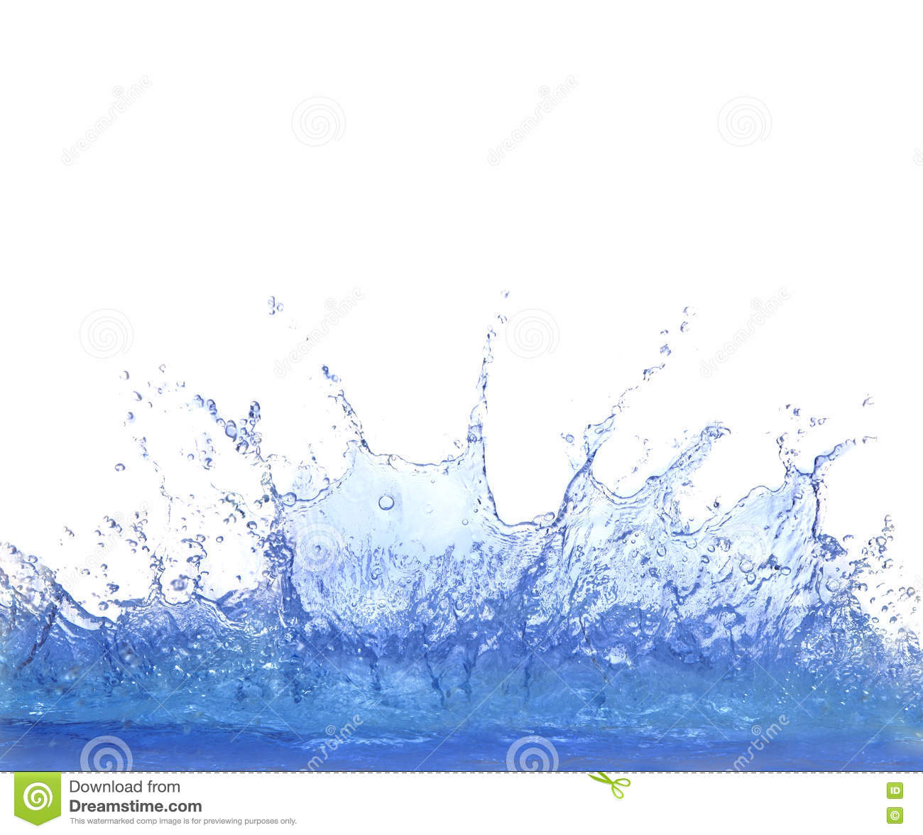 Clear blue water splashing isolate on white background
