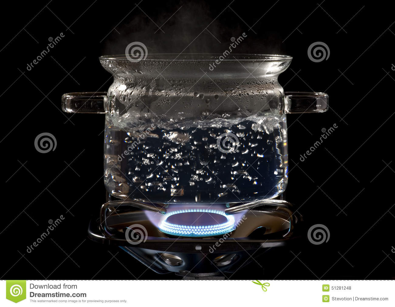 Clear Cooking Pot On A Gas Stove Stock Photo Image Of Fire