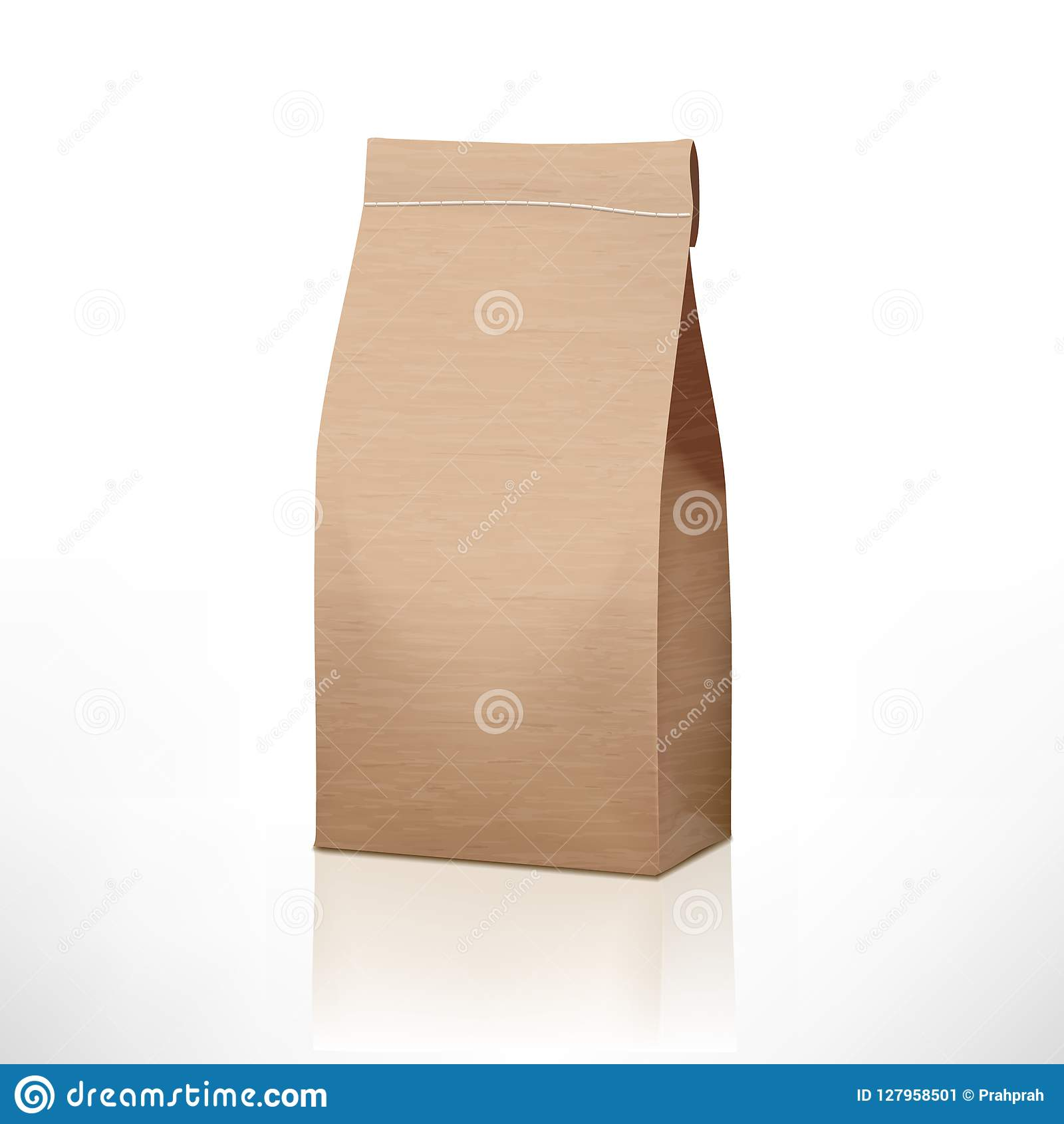 Clear Craft Paper Bag Pack Isolated On White