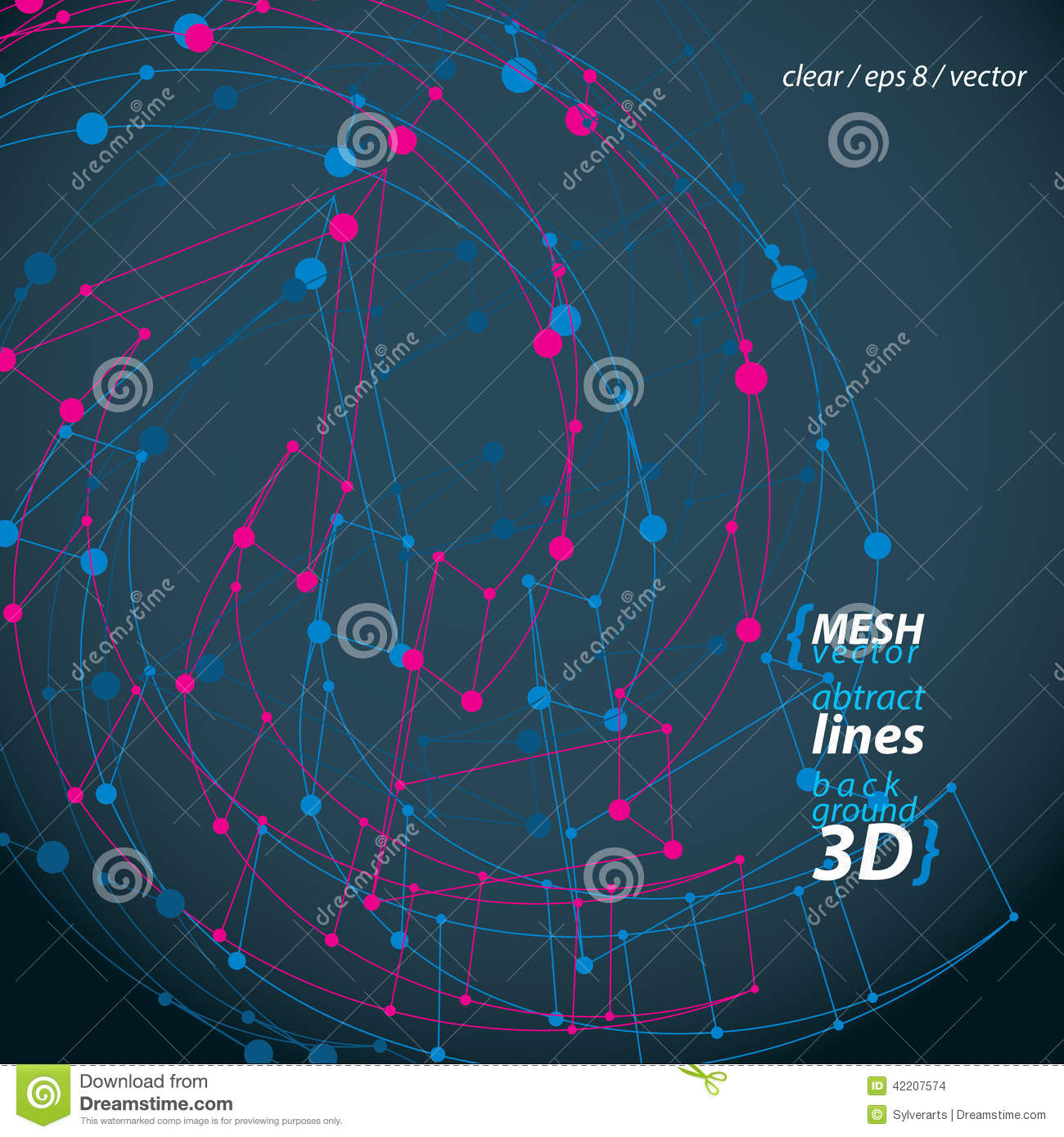 Clear eps 8 engineering vector illustration, 3d mesh symbol, wireframe loop sign isolated on dark background.