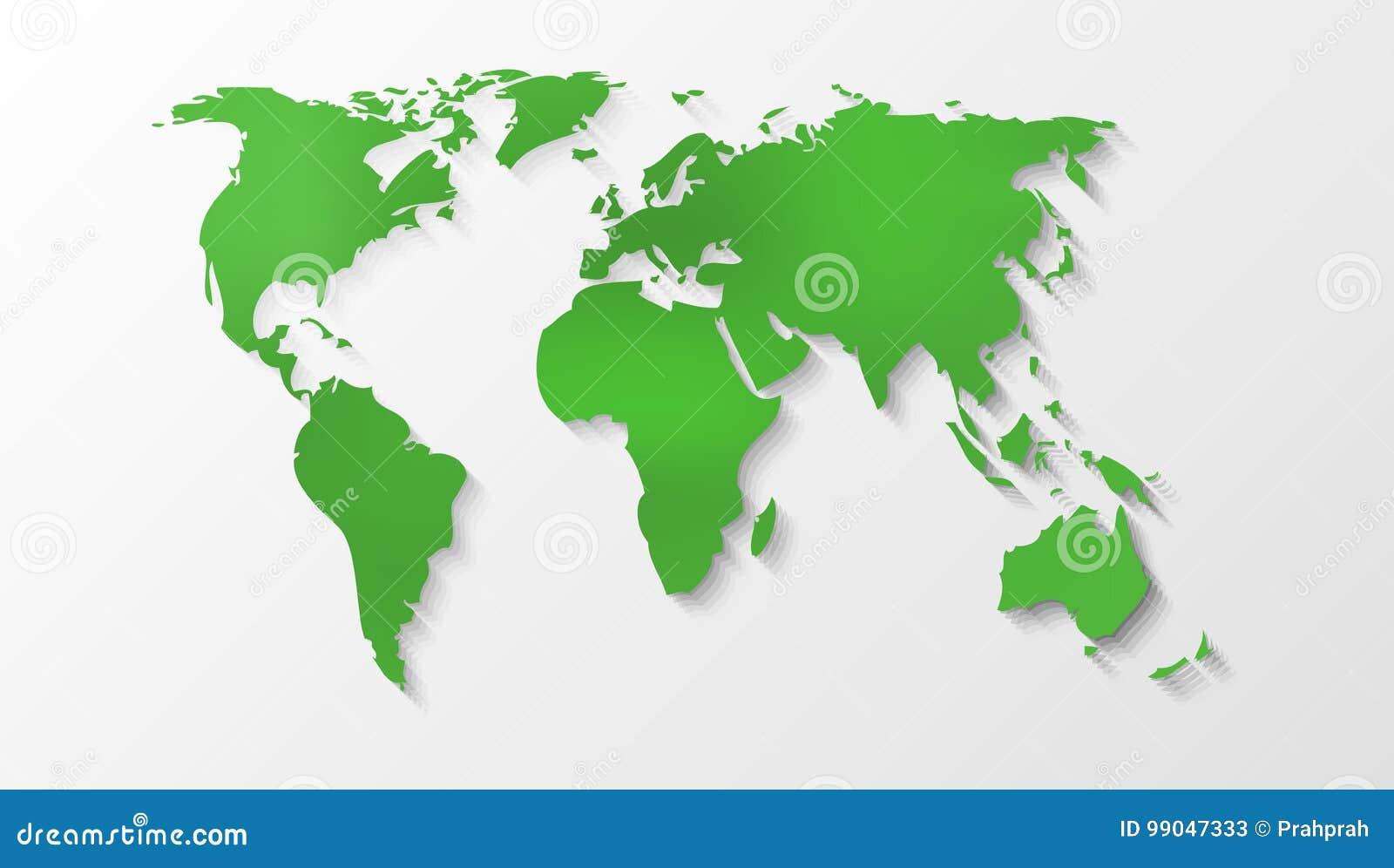 Green World Map Silhouette stock vector. Illustration of eurasia ...