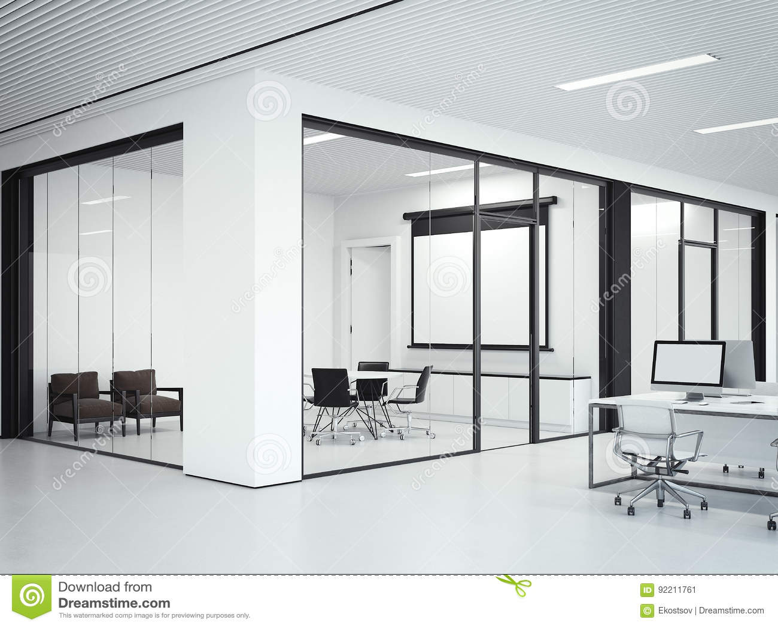 Clear office interior wiht meeting room. 3d rendering