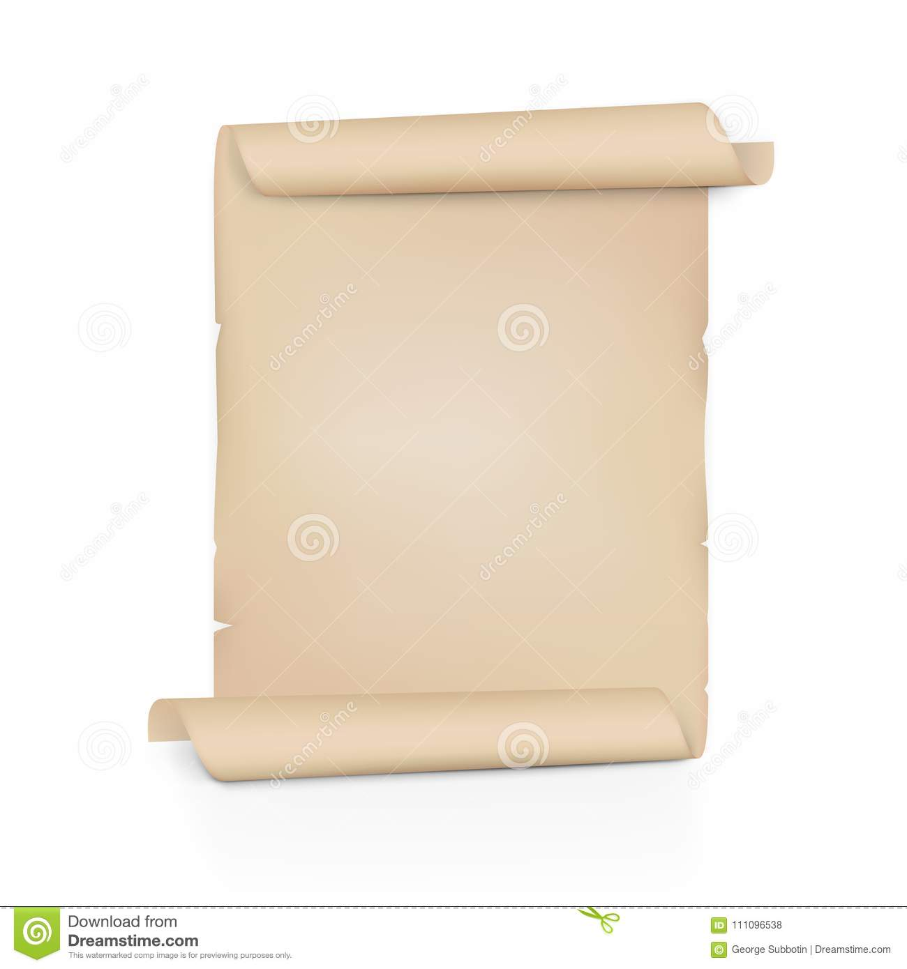 Clear Old Paper Scroll. Sheet Roll On Both Sides