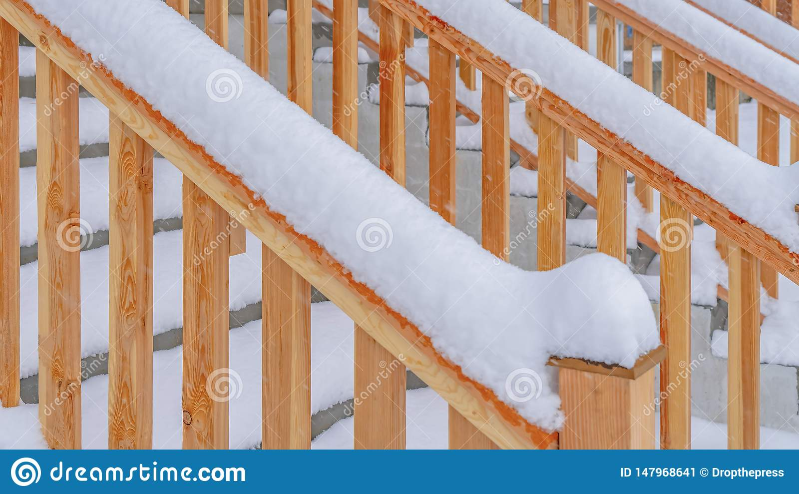 Image of: Clear Panorama Close Up Of The Outdoor Stairs Of A Home In Daybreak Utah During Winter Stock Image Image Of Snowfall Snowy 147968641