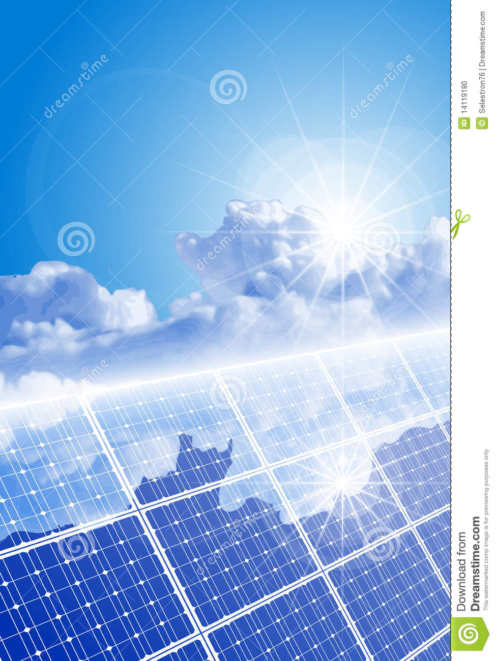 Clear Sky Bright Sun And Solar Panel Stock Photo Image
