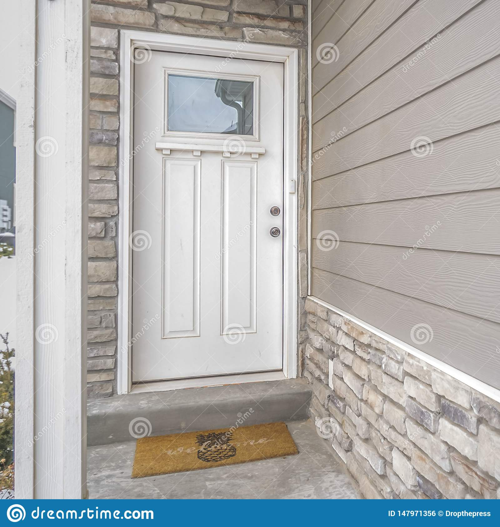 Clear Square White Wooden Front Door With Reflective Glass Panel On The Entance Of A Home Stock Photo Image Of Residential Structure 147971356