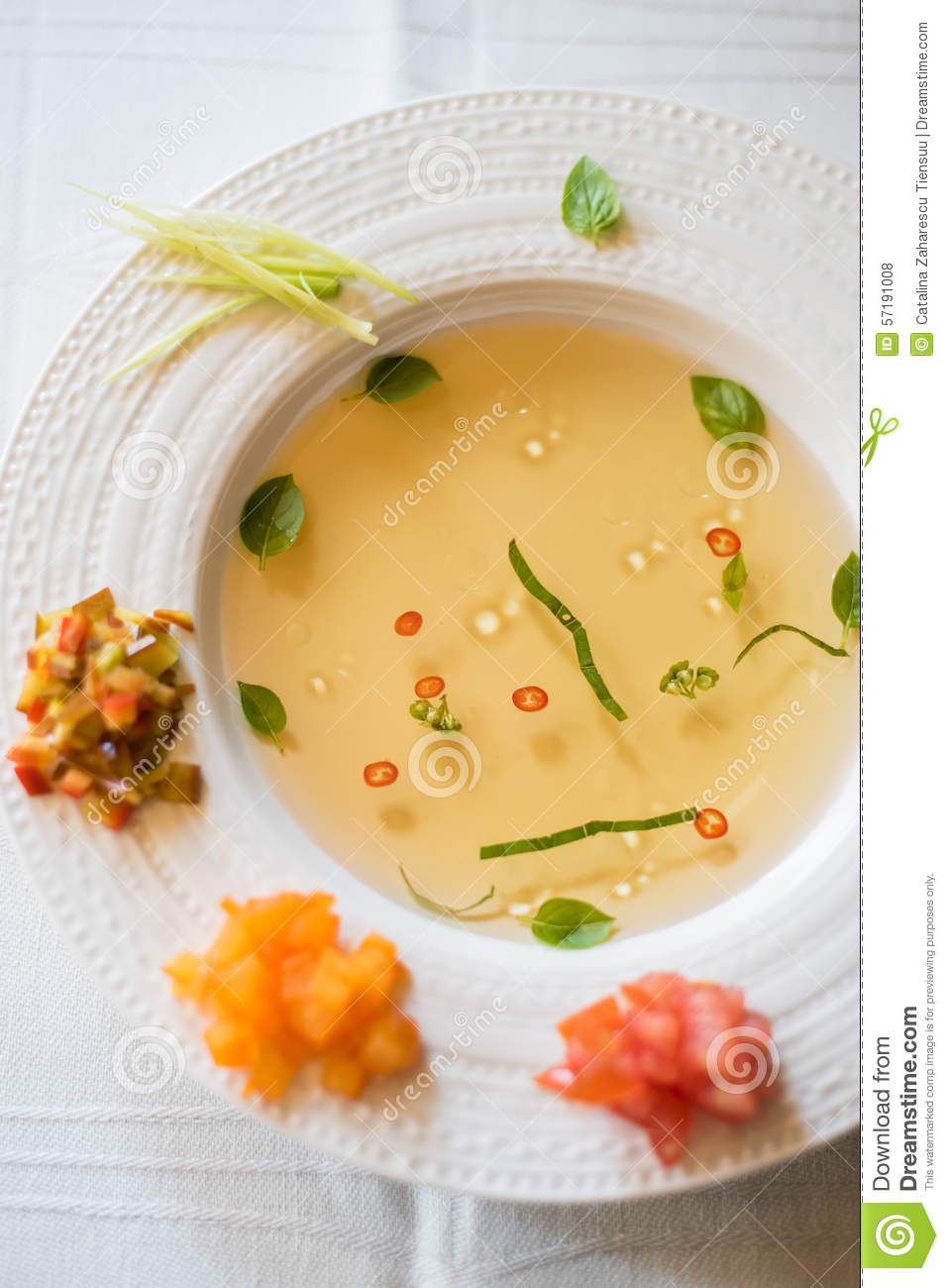 Clear Tomato Soup With Chopped Vegetables Stock Photo ...