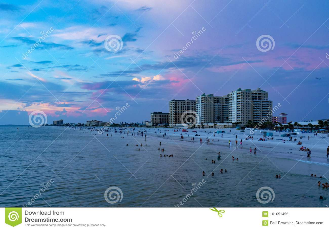 Clear water beach florida skyline at sunsete at sunset. Clearwater