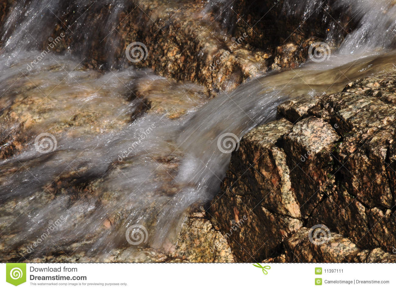 Clear Marble Rocks : Clear water flows over pink granite rocks stock image