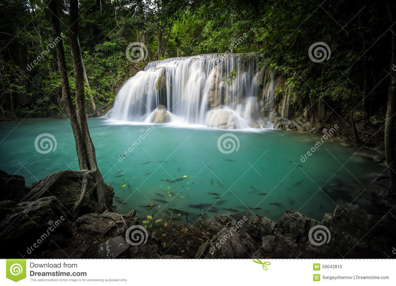 Clear Water Pond And Silky Waterfall In Forest Stock Photo