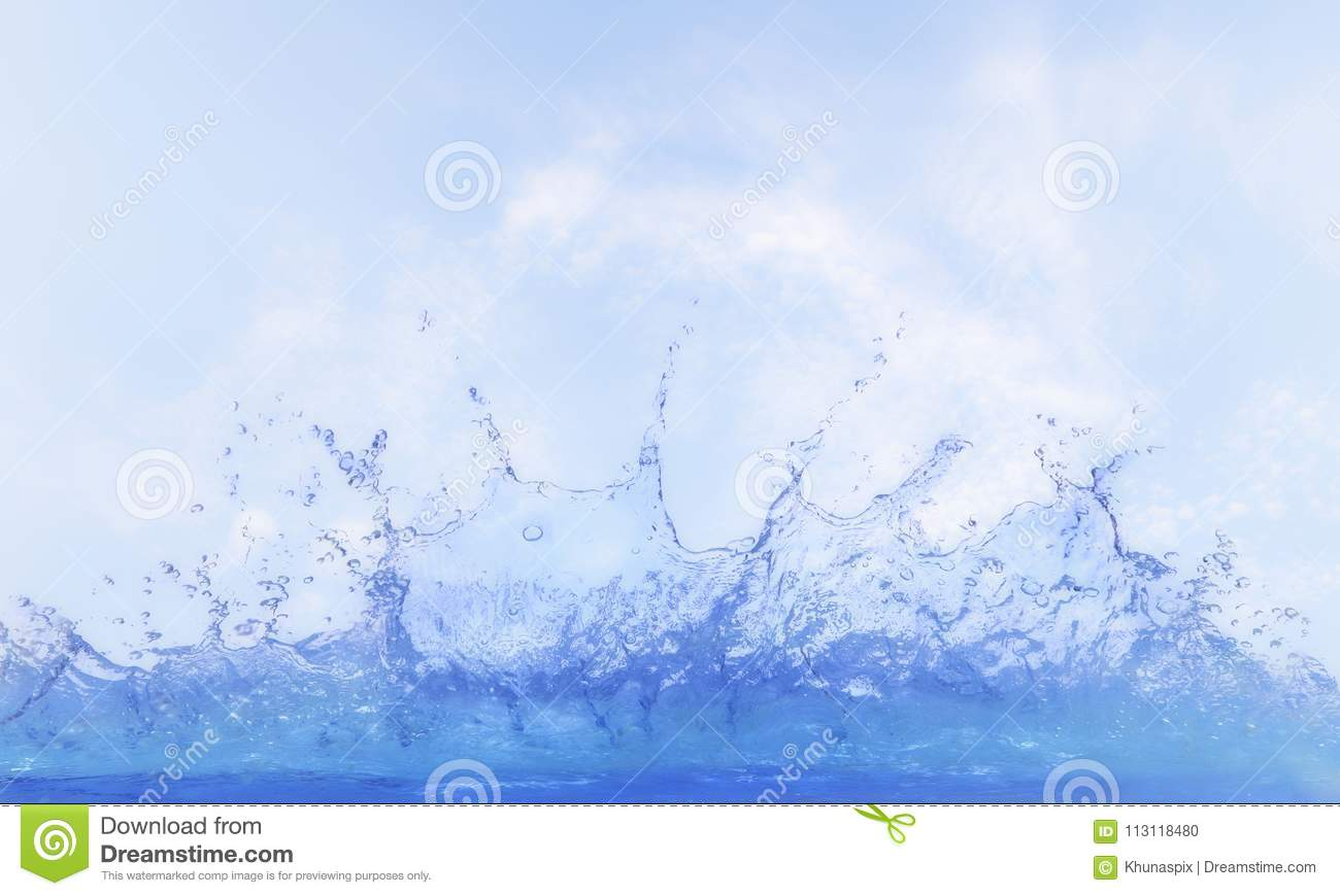 Clear water splashing against blue sky ,white day light cloud