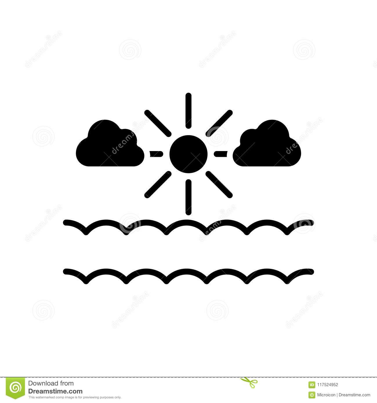 Clear Weather Black Icon Concept Clear Weather Flat Vector Symbol