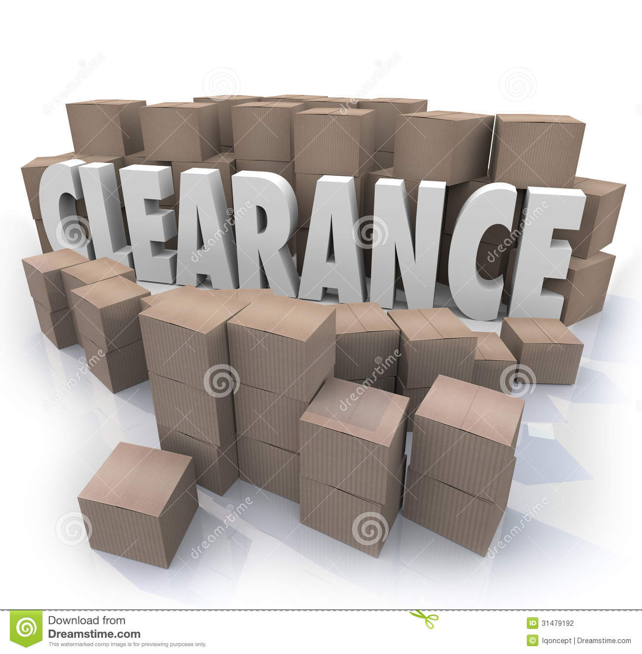Clearance Sale Inventory Boxes Stockroom The Word Surrounded By Cardboard And Packages In