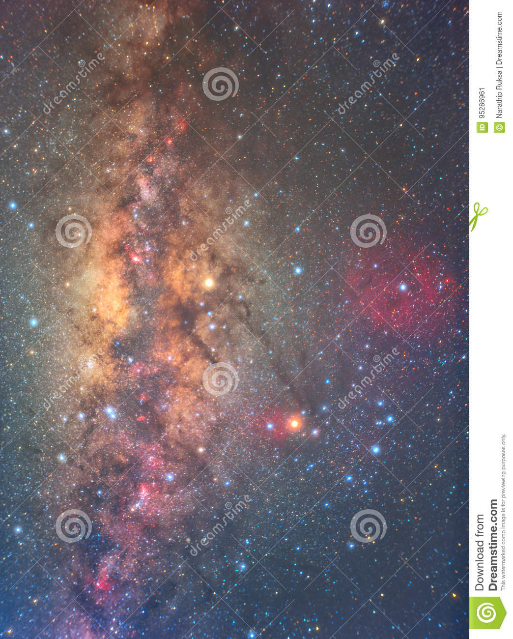 Clearly milky way on night sky with a million star and red nebul