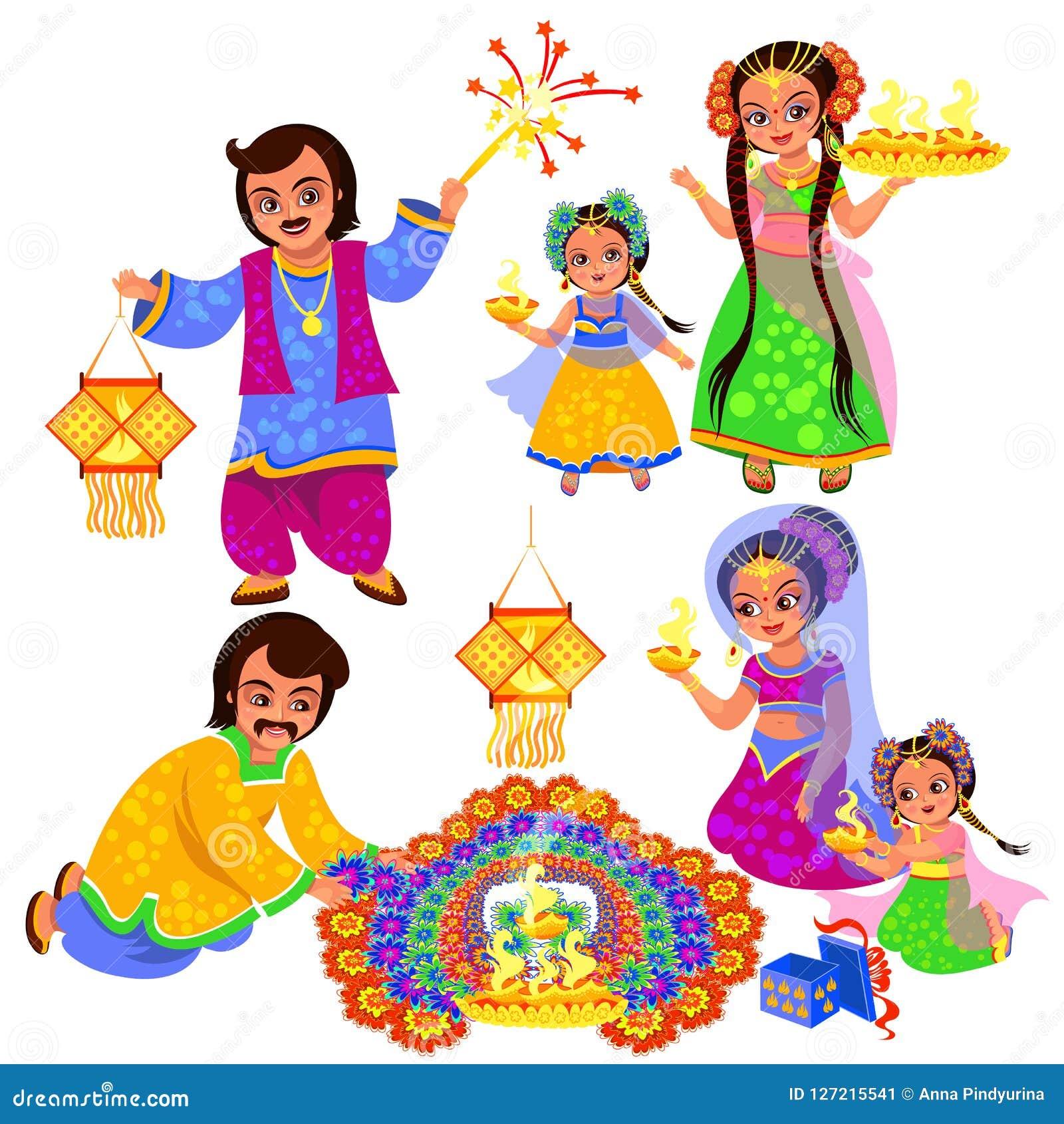 Clebration indio del día de fiesta de Diwali con las familias