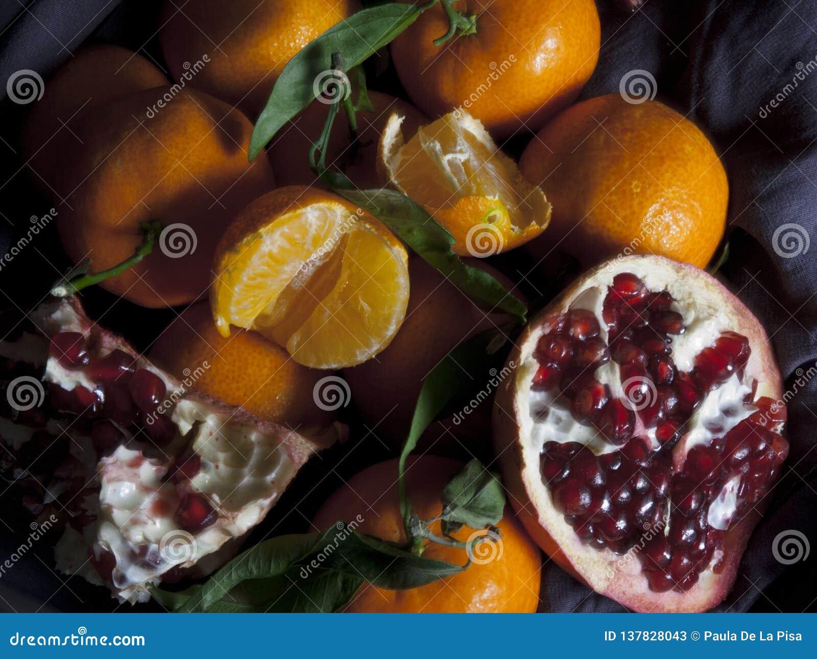 Clementinas y granada Ensalada de fruta