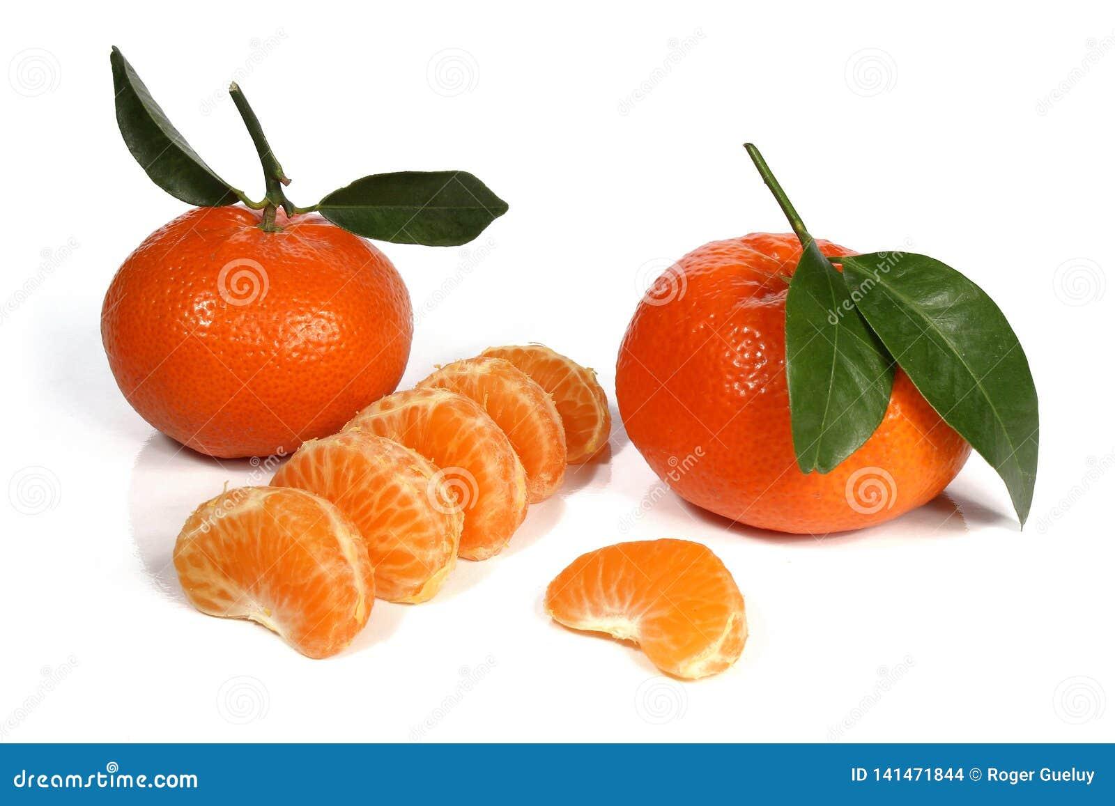 Clementines lub tangerines z zielonymi liśćmi na białym tle