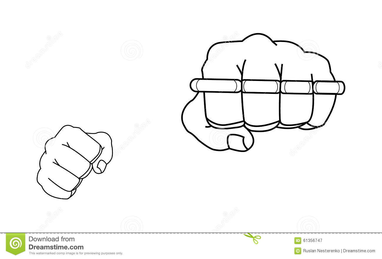 3a7161921 Clenched man fists holding brass-knuckle. Punching. Contour lines vector illustration  isolated on white. More similar stock illustrations