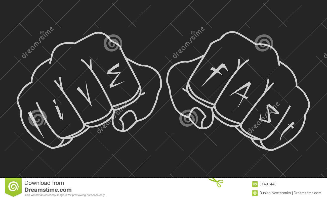 12730ee8c Clenched man fists holding brass-knuckle. Punching. Black and white isolated  illustration. More similar stock illustrations