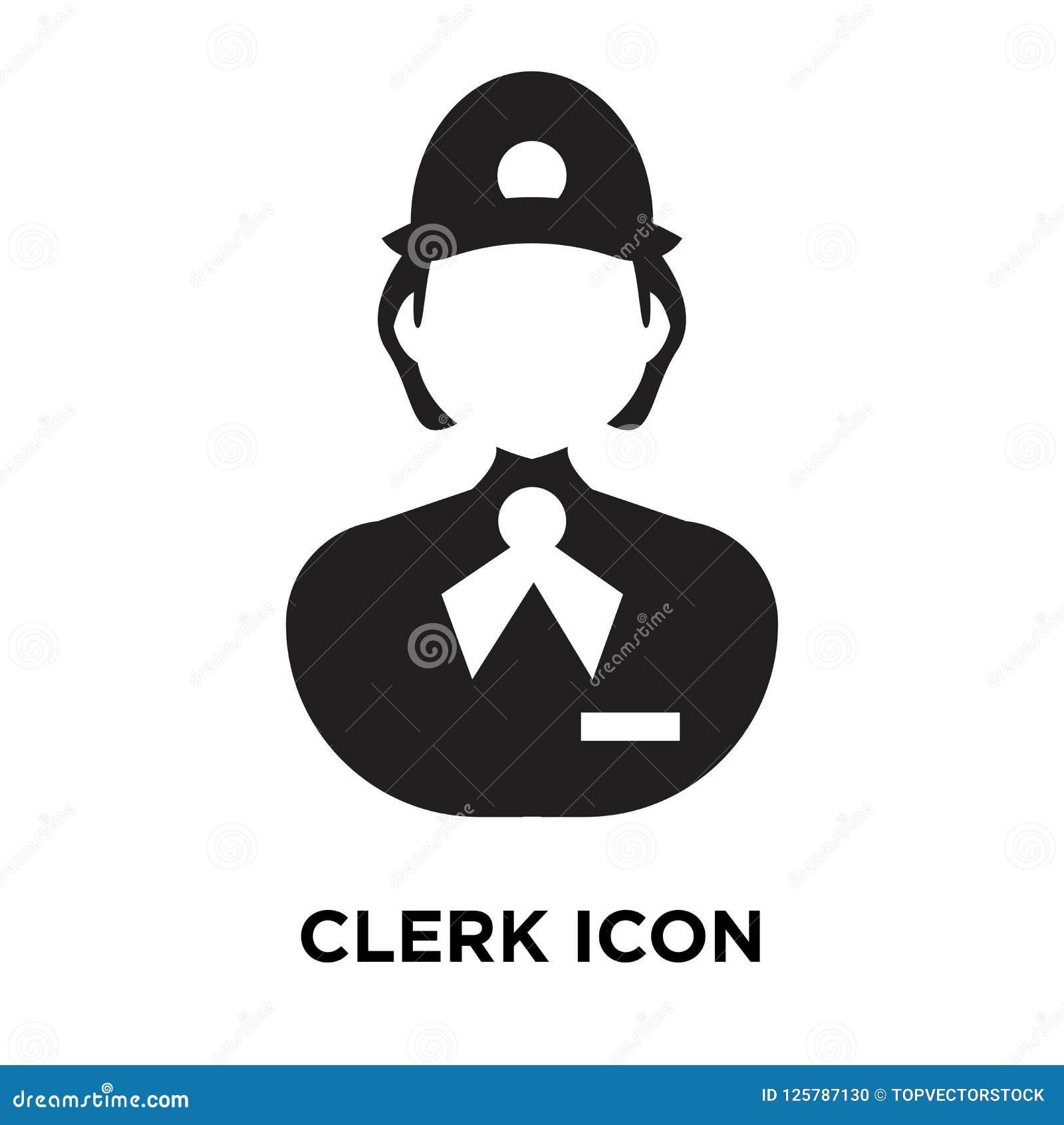 Supermarket Logo Concept: Clerk Icon Vector Isolated On White Background, Logo