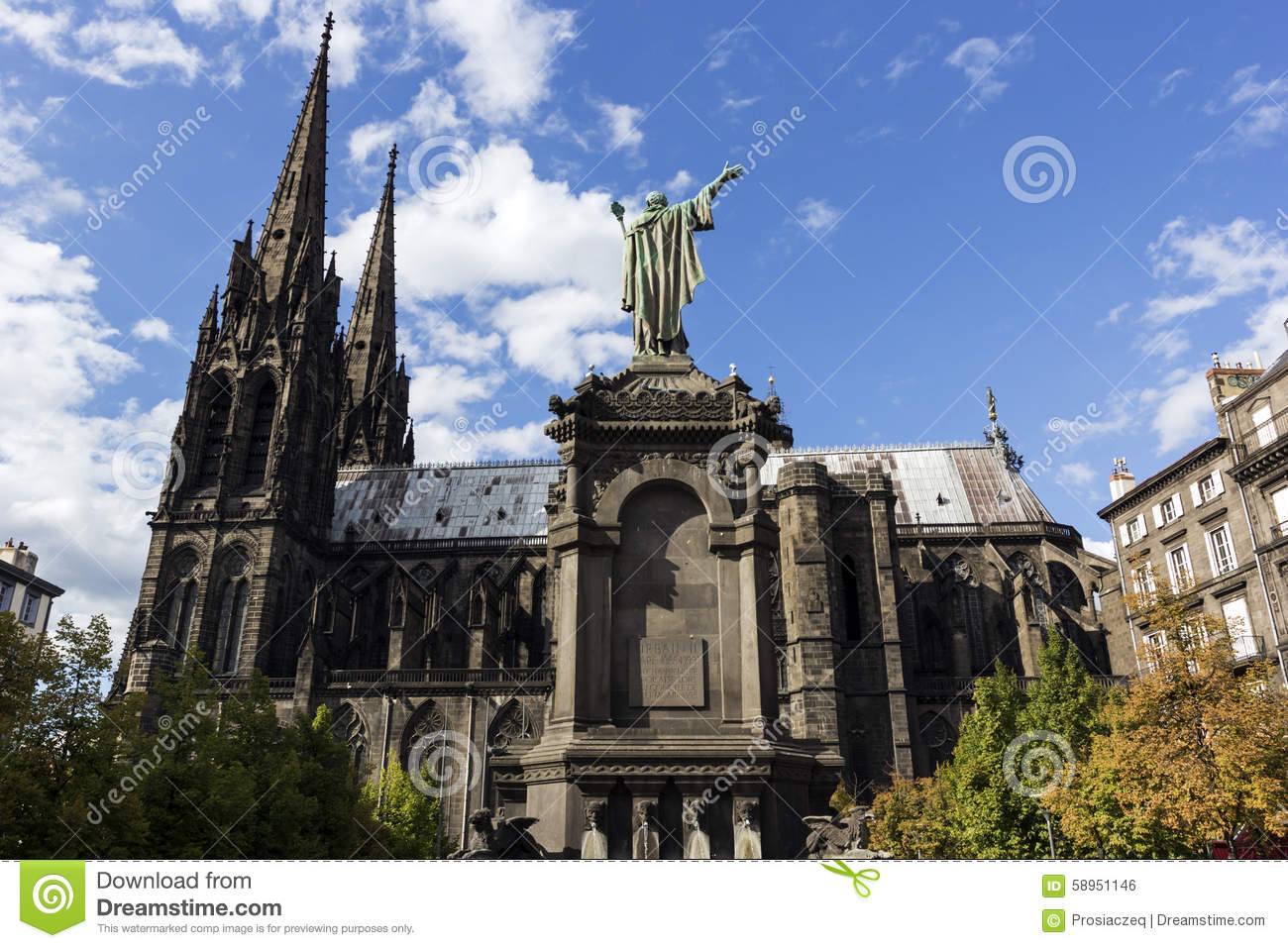 clermont ferrand cathedral in france stock photo image 58951146. Black Bedroom Furniture Sets. Home Design Ideas