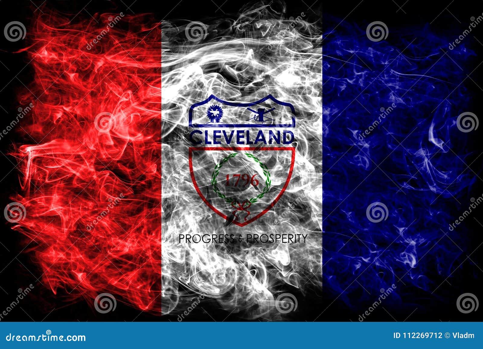 Cleveland miasta dymu flaga, Ohio stan, Stany Zjednoczone Ameryka
