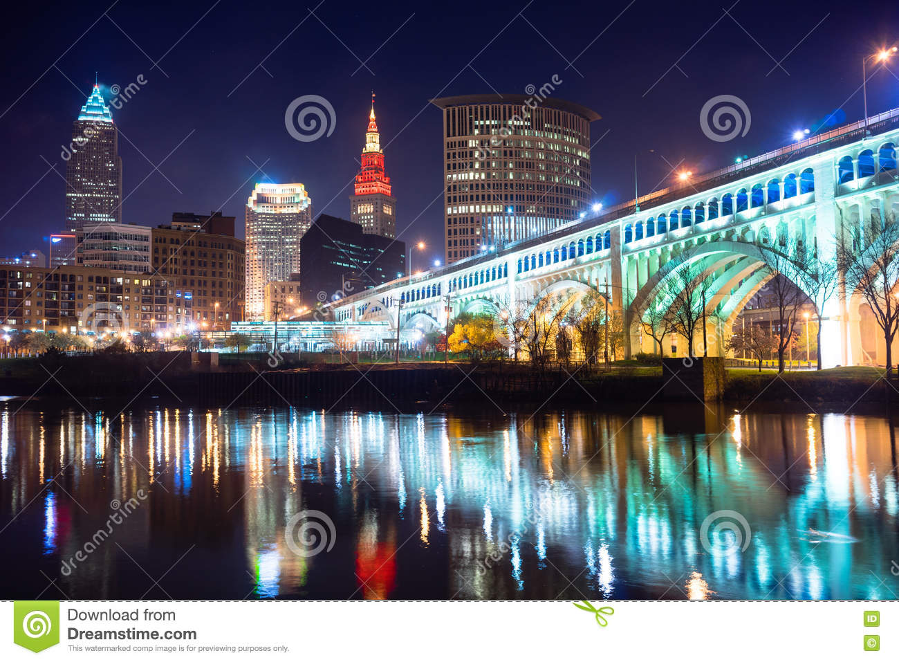 Cleveland Ohio Downtown City Skyline Cuyahoga River Royalty Free Stock  Photos. Downtown Cleveland Ohio Skyline Stock Photo   Image  9505970