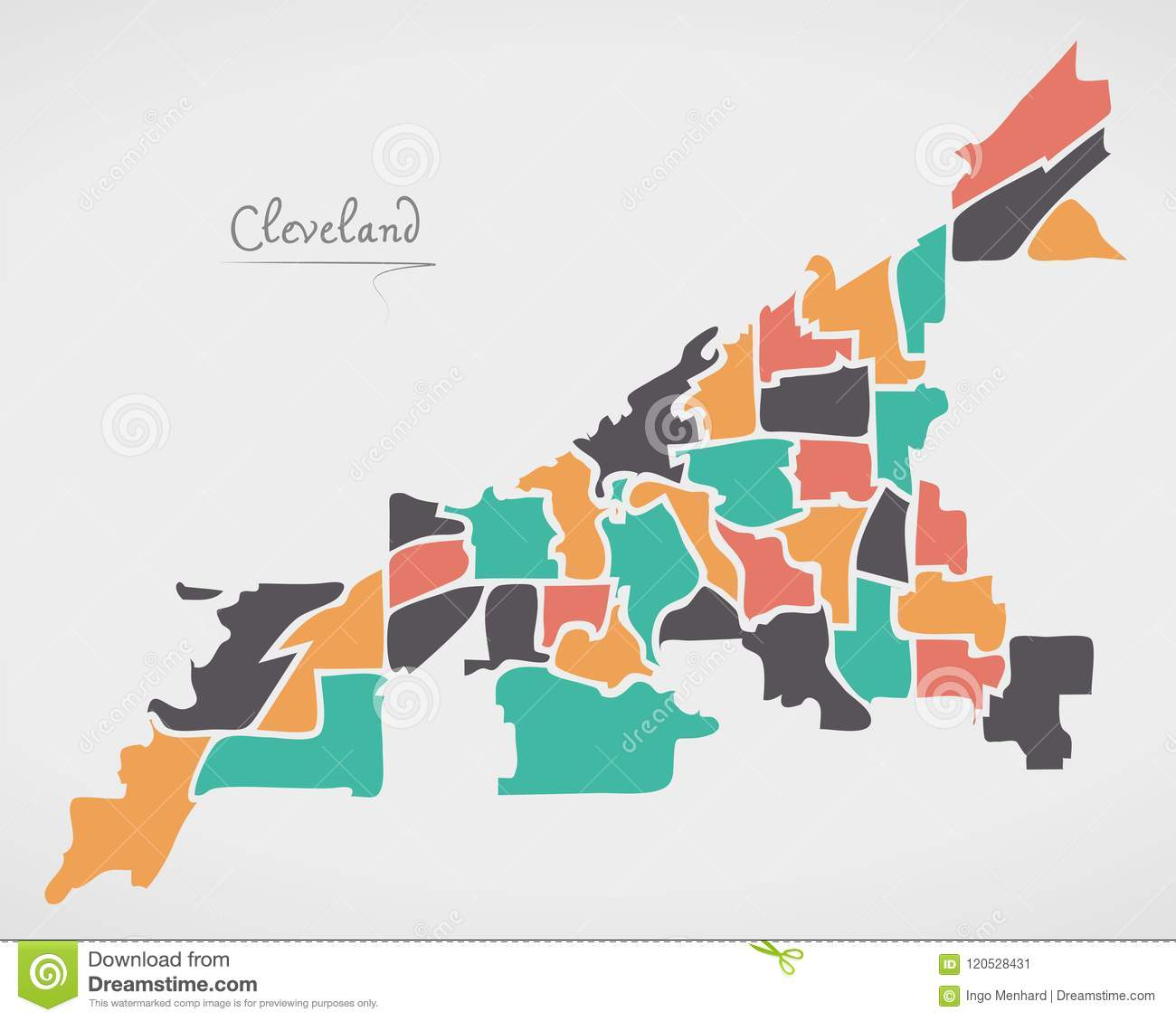Cleveland Ohio Map With Neighborhoods And Modern Round Shapes Stock on