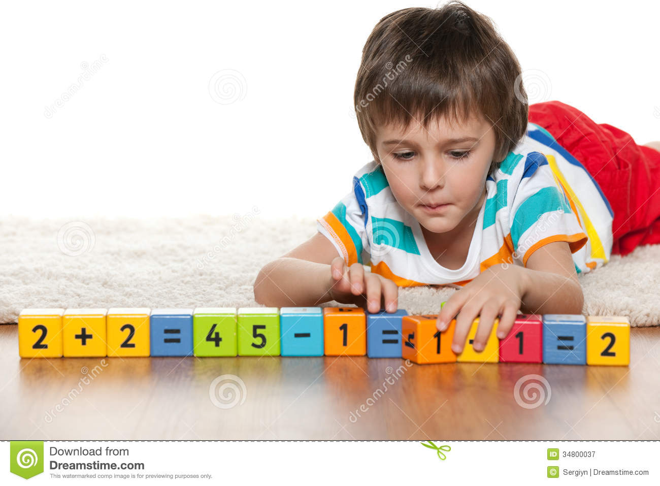 Photography Studio Floor Plans Clever Boy With Blocks On The Floor Royalty Free Stock