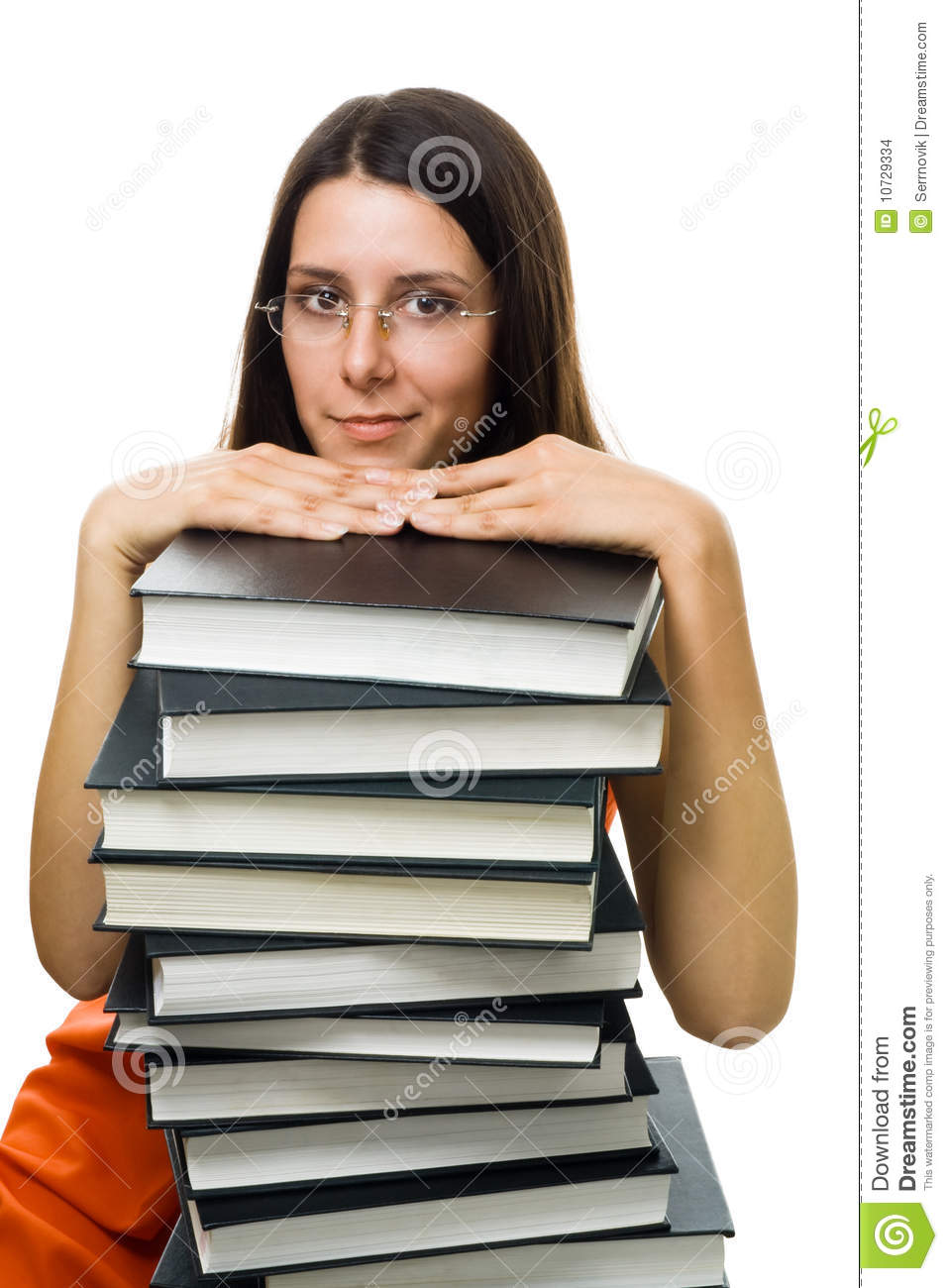 Clever Woman Student On Pile Of Books Stock Photo - Image ...