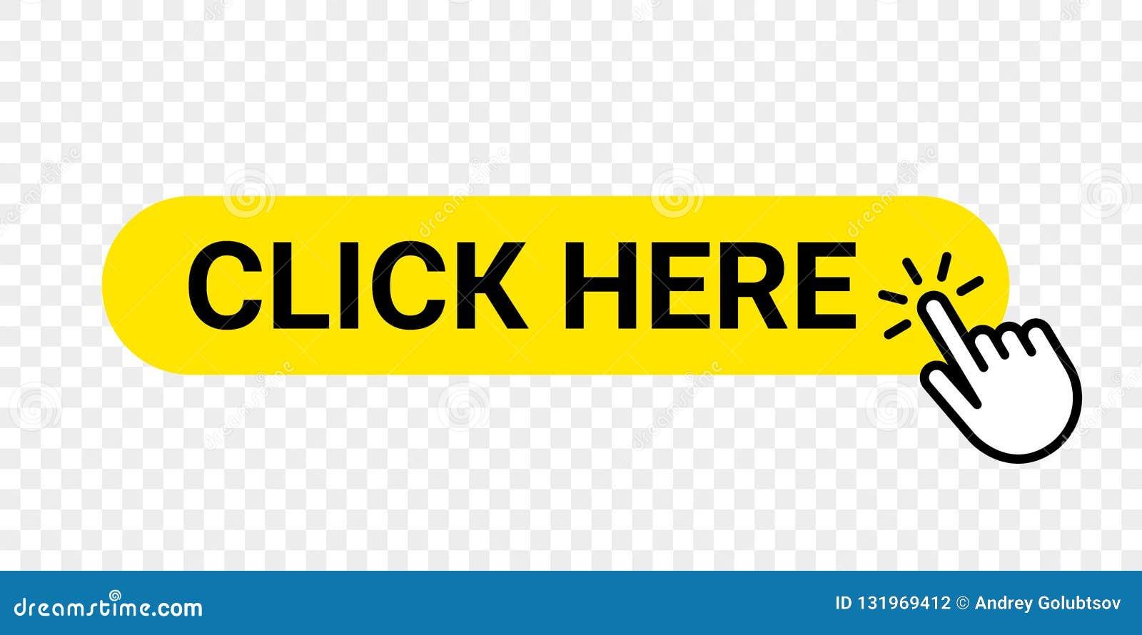 Clicchi qui il bottone di web di vettore Affare isolato del sito Web o registrare l icona gialla della barra con il dito della ma