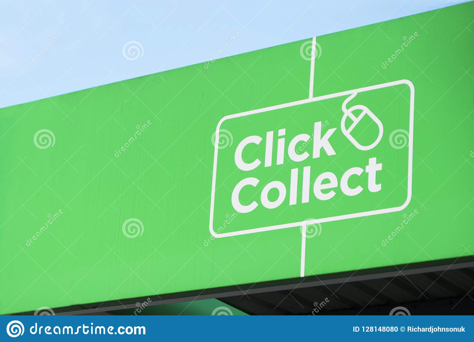 Click collect online shopping shop mall quick easy green sign