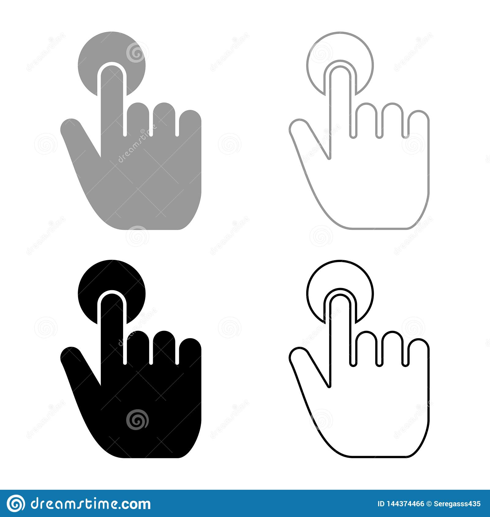 Click hand Touch of hand Finger click on screen surface icon set black color vector illustration flat style image