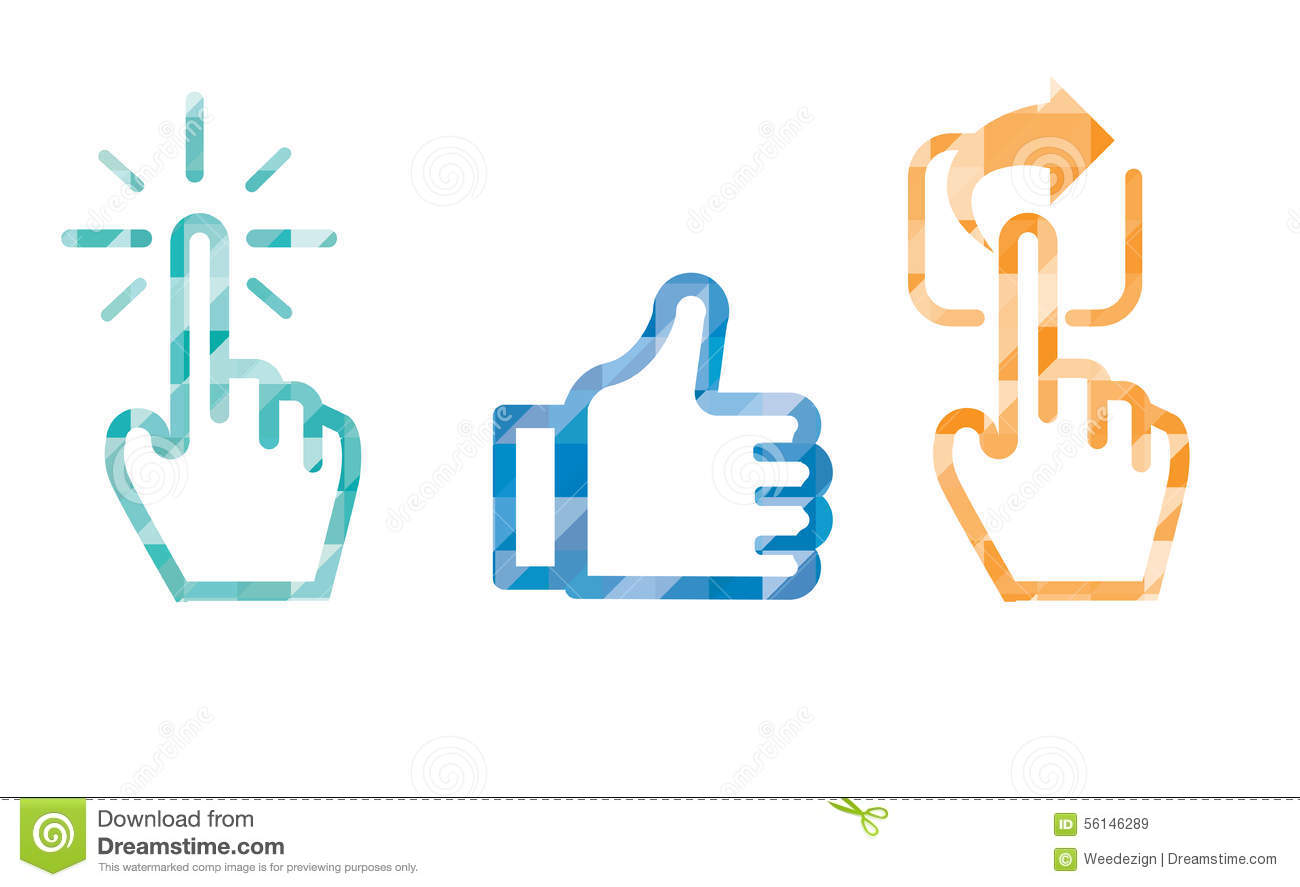 Click Like Share icon in blue color ,hand cursor and like thumb