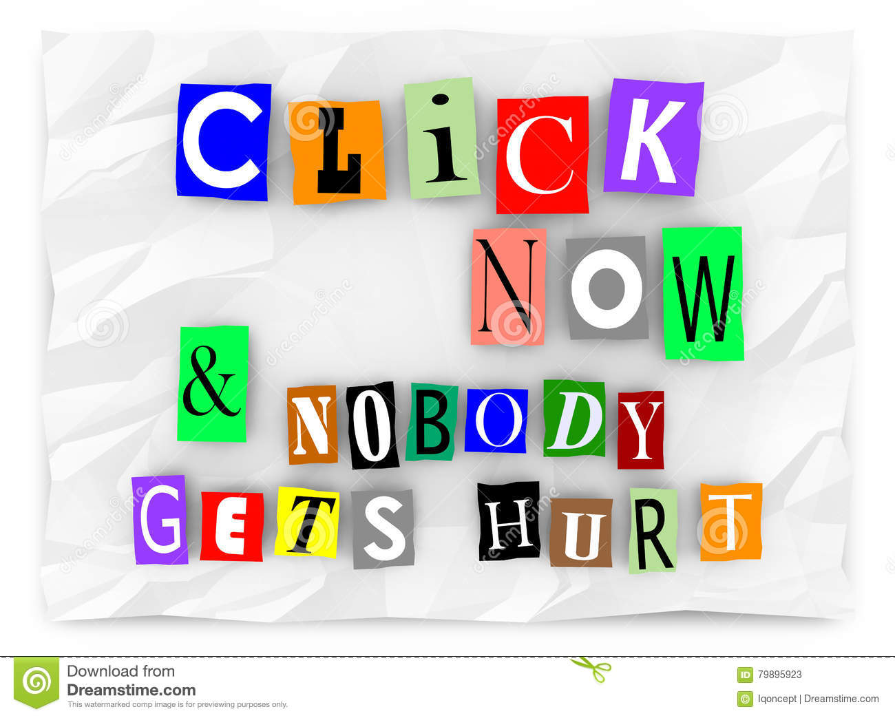 click now and nobody gets hurt online traffic words stock