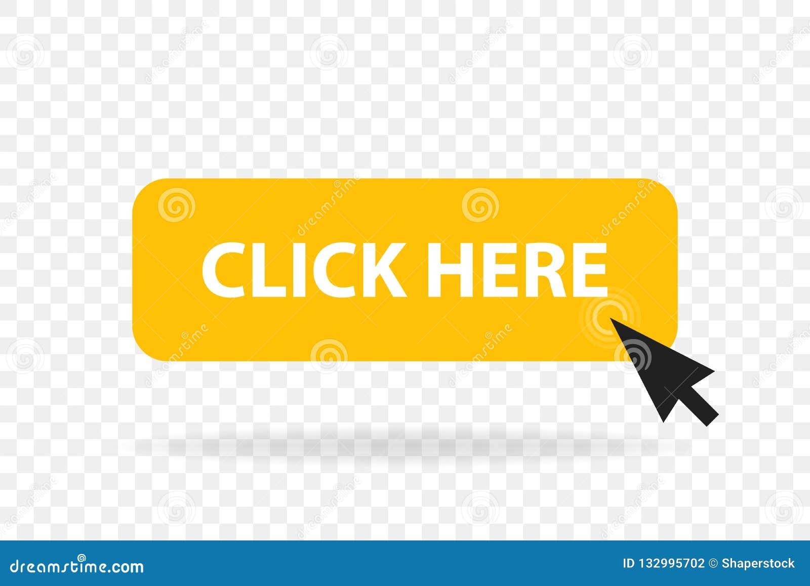 Click web button template. Vector yellow bar, computer mouse click here cursor