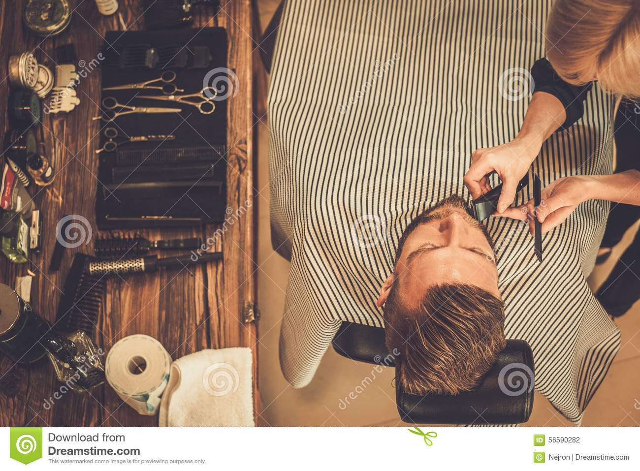 client in barber shop stock photo image of hair grooming 56590282. Black Bedroom Furniture Sets. Home Design Ideas